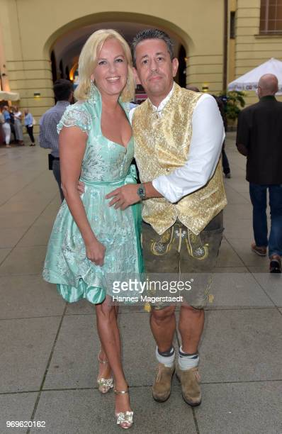 Astrid Soell, dirndl fashion designer, and her husband Volker Woehrle during the 70th anniversary celebration of the clothing company Angermaier at...