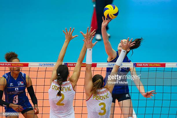 Astrid Souply of France during the CEV European League match at Salle Colette Besson on June 11 2016 in Rennes France
