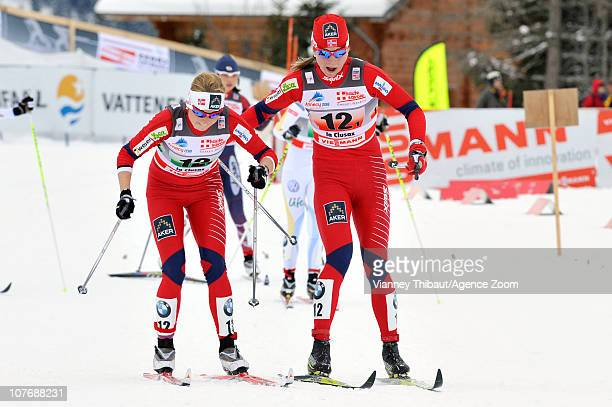 Astrid Uhrenholdt Jacobsen Marthe Kristoffersen of Norway during the FIS CrossCountry World Cup Women's 4x5 km Relay on December 19 2010 in La Clusaz...