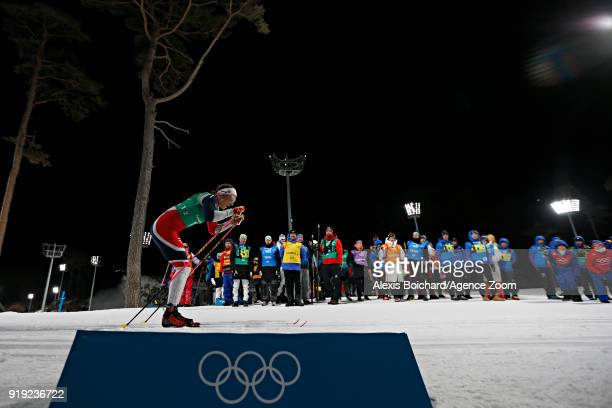 Astrid Uhrenholdt Jacobsen of Norway competes during the CrossCountry Women's Relay at Alpensia CrossCountry Centre on February 17 2018 in...