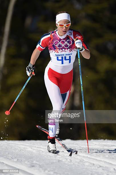 Astrid Uhrenholdt Jacobsen of Norway competes in the Women's 10 km Classic during day six of the Sochi 2014 Winter Olympics at Laura Crosscountry Ski...