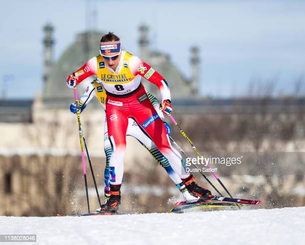 Astrid Uhrenholdt Jacobsen of Norway competes in the Women's 10km freestyle pursuit during the FIS Cross Country Ski World Cup Final on March 24,...