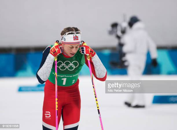 Astrid Uhrenholdt Jacobsen of Norway dejected during the Womens 4x5km Relay CrossCountry Skiing on day eight of the PyeongChang 2018 Winter Olympic...