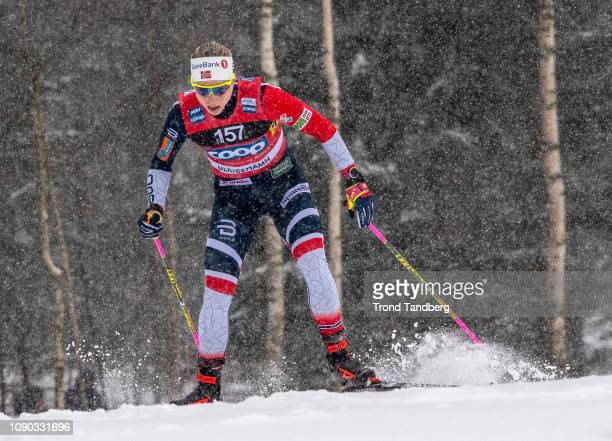 Astrid Uhrenholdt Jacobsen of Norway during FIS WC Ladies 4 x 50 km Relay Classic Free on January 27 2019 in Ulricehamn Sweden