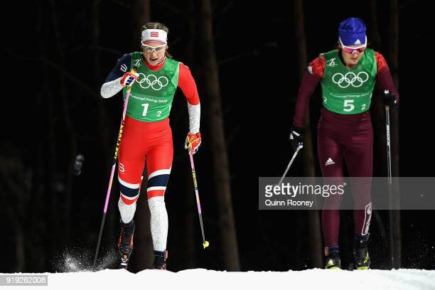Astrid Uhrenholdt Jacobsen of Norway during the Ladies' 4x5km Relay on day eight of the PyeongChang 2018 Winter Olympic Games at Alpensia...