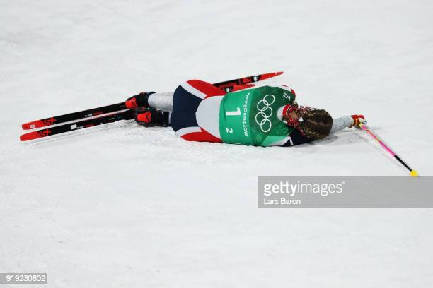 Astrid Uhrenholdt Jacobsen of Norway exhausted after her leg during the Ladies' 4x5km Relay on day eight of the PyeongChang 2018 Winter Olympic Games...