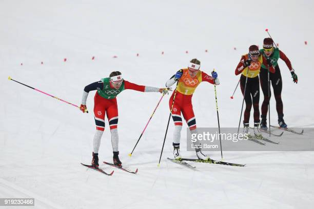 Astrid Uhrenholdt Jacobsen of Norway hands over to Ragnhild Haga of Norway during the Ladies' 4x5km Relay on day eight of the PyeongChang 2018 Winter...