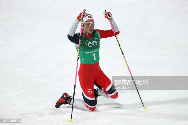 Astrid Uhrenholdt Jacobsen of Norway looks on after her leg during the Ladies' 4x5km Relay on day eight of the PyeongChang 2018 Winter Olympic Games...