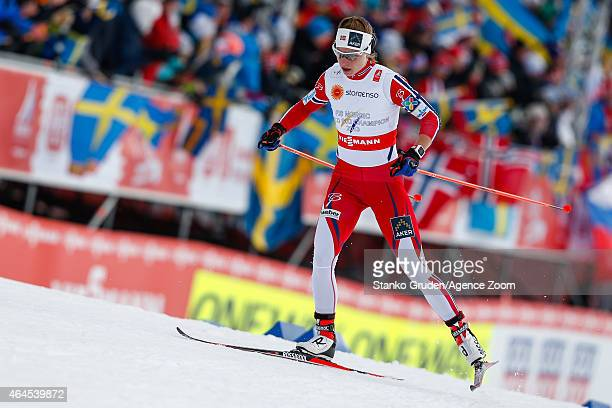 Astrid Uhrenholdt Jacobsen of Norway takes 1st place during the FIS Nordic World Ski Championships Women's CrossCountry Relay on February 26 2015 in...