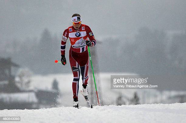 Astrid Uhrenholdt Jacobsen of Norway takes 2nd place during the FIS CrossCountry World Cup Tour de Ski Women's 5km on January 04 2014 in Val di...