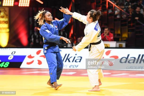 Astride Gneto and Angelica Delgado during the Grand Slam of Paris at AccorHotels Arena on February 10 2018 in Paris France