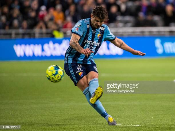 Astrit Ajdarevic of Djurgardens IF prepare to take a free kick during an Allsvenskan match between Djurgardens IF and GIF Sundsvall at Tele2 Arena on...