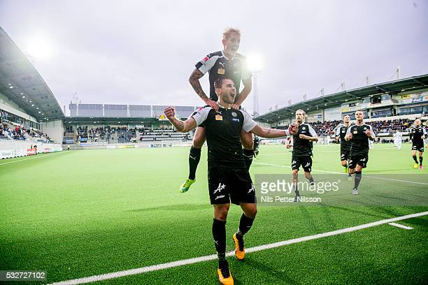 Astrit Ajdarevic of Orebro SK celebrates after scoring to 30 during the Allsvenskan match between Gefle IF and Orebro SK at Gavlevalllen on May 19...