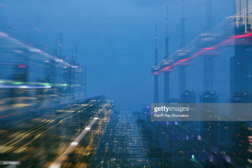 Astro Projection. Blue Dimensions of CN Tower : Stock Photo