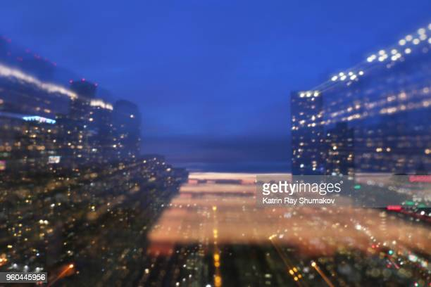 Astro Projection. Blue Hour City in Multiple Dimensions