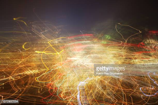 astro projection. complicated pathways of city matrix - digital composite stock-fotos und bilder