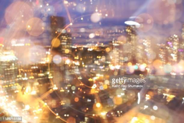 Astro Projection. Dazzling Data Stream of Cityscape Dimensions