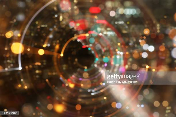 astro projection. dazzling dimensions of night city - zoom in stock pictures, royalty-free photos & images
