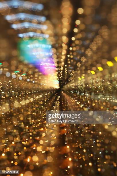 Astro Projection. Golden Zoomkeh of City Dimensions with Rainbow Touch