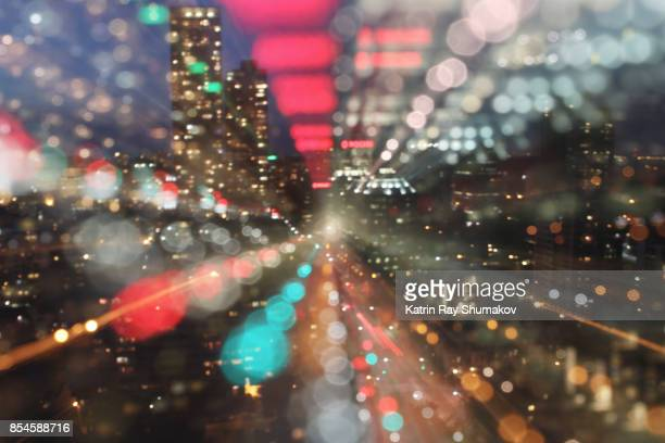 astro projection. sparkling dimensions of night city - zoom in stock pictures, royalty-free photos & images