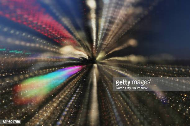 Astro Projection. Warp Speed and Rainbow Trail of Night City