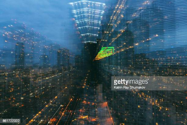 Astro Projection. Zooming Cityscapes of Blue Hour Dimensions