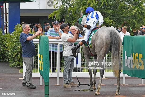 Astrolabe ridden by Paddy Pilley returns to the mounting yard after winning Ghanda BM64 Handicap at Geelong Racecourse on December 26 2016 in Geelong...