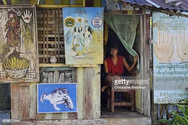 Astrologer and palmist cabin. Shwemawdaw pagoda. Bago (Pegu). Myanmar.