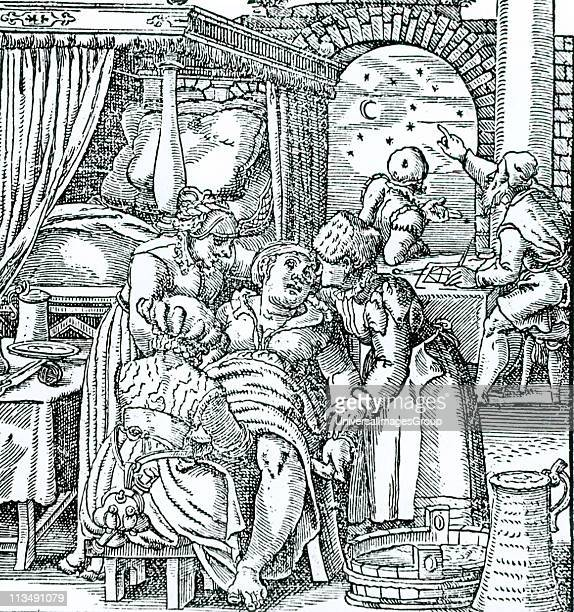 Astrologers casting a horoscope for the child being born to the woman in the foreground seated in a birthing chair She is supported by two women...
