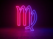 Astrological zodiac signs, astrology and horoscopes concept 3d render, glowing lines, neon lights, background,