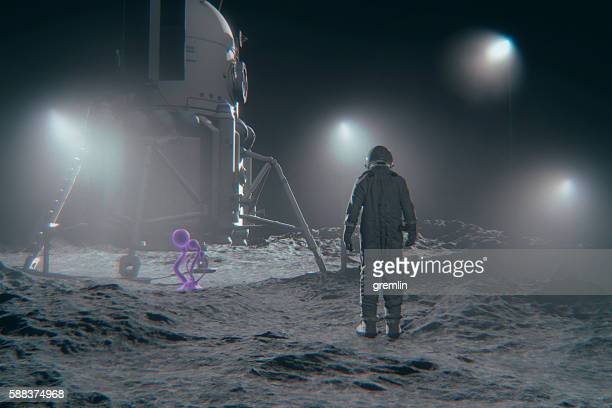 Astronaut and mysterious alien life form