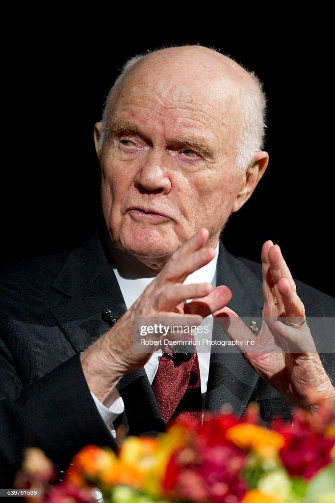 Astronaut and U.S. Senator John Glenn speaks at the Lyndon ...