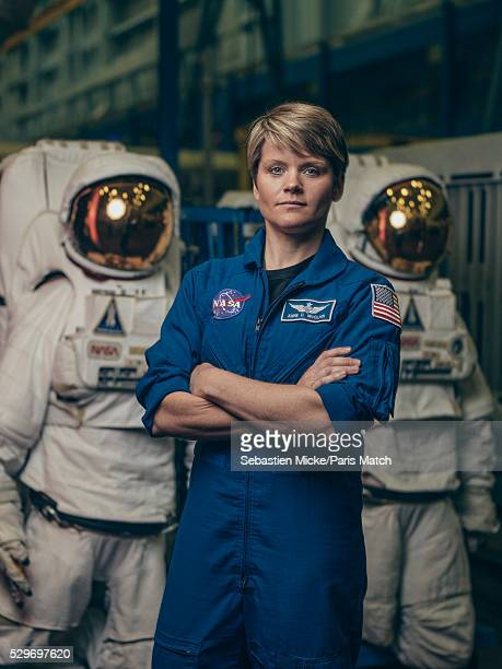 NASA astronaut Anne McClain who has been selected for a manned mission to Mars is photographed for Paris Match at the Johnson Space Center on...