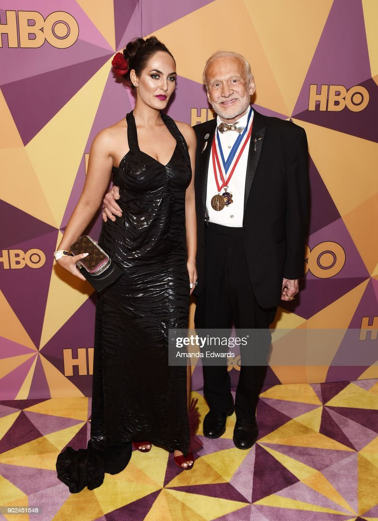 Astronaut Buzz Aldrin (R) and guest arrive at HBO's Official Golden Globe Awards After Party at Circa 55 Restaurant on January 7, 2018 in Los Angeles, California.