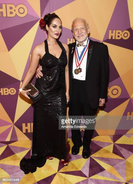 Astronaut Buzz Aldrin and guest arrive at HBO's Official Golden Globe Awards After Party at Circa 55 Restaurant on January 7 2018 in Los Angeles...