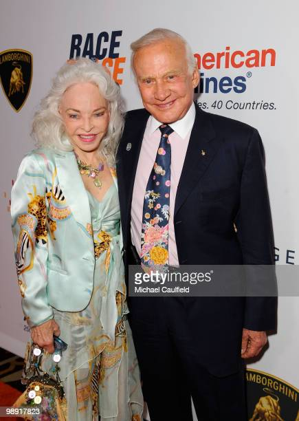 Astronaut Buzz Aldrin and wife Lois Aldrin arrive at the 17th Annual Race to Erase MS event cochaired by Nancy Davis and Tommy Hilfiger at the Hyatt...