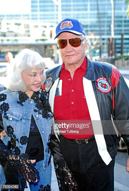 Astronaut Buzz Aldrin and wife Lois arrive at the Super Bowl Bash at Spago at Wolfgang Puck's Spago restaurant February 4 2007 in Beverly Hills...
