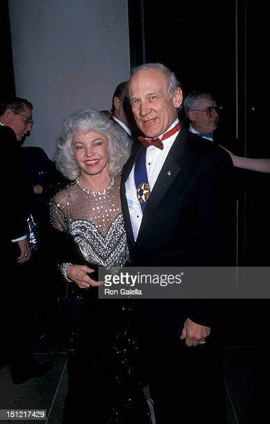 Astronaut Buzz Aldrin and wife Lois Driggs attending Seventh Annual American Cinema Awards on January 27 1990 at the Beverly Hilton Hotel in Beverly...
