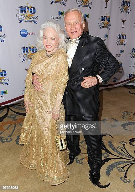 Astronaut Buzz Aldrin arrives with wife Lois Driggs Cannon at the 20th Annual Night Of 100 Stars Awards Gala at Beverly Hills Hotel on March 7 2010...