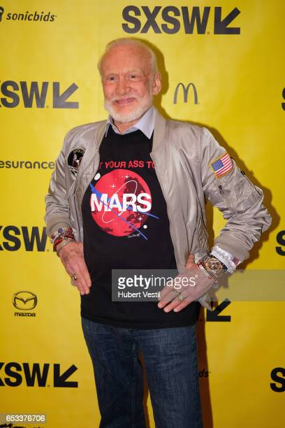 Astronaut Buzz Aldrin attends 'A Conversation With Buzz Aldrin and Jeff Kluger' during 2017 SXSW Conference and Festivals on March 14 2017 in Austin...