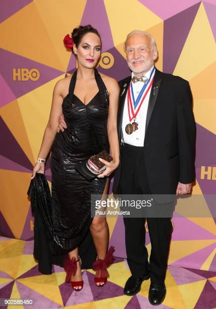 Astronaut Buzz Aldrin attends HBO's official Golden Globe Awards after party at The Circa 55 Restaurant on January 7 2018 in Los Angeles California