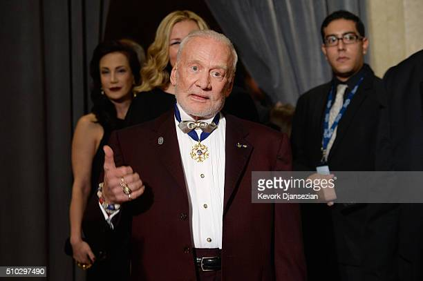 Astronaut Buzz Aldrin attends the 2016 PreGRAMMY Gala and Salute to Industry Icons honoring Irving Azoff at The Beverly Hilton Hotel on February 14...