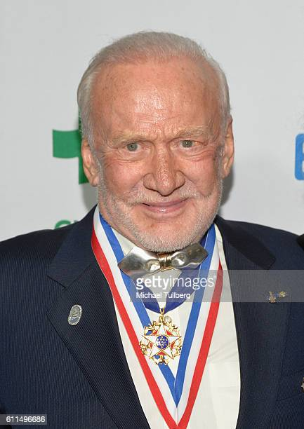 Astronaut Buzz Aldrin attends the Global Green 20th Anniversary Environmental Awards at Alexandria Ballrooms on September 29 2016 in Los Angeles...