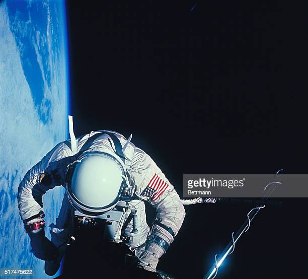 Astronaut Buzz Aldrin photographed at the start of the extravehicular activity over the Pacific during Gemini12 mission