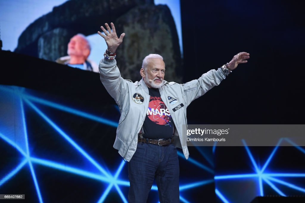 Astronaut Buzz Aldrin speaks on stage during WE Day New York Welcome to celebrate young people changing the world at Radio City Music Hall on April 6, 2017 in New York City.