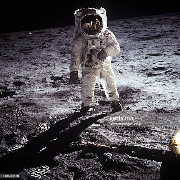 Astronaut Buzz Aldrin walking on the Moon July 20 1969 Taken during the first Lunar landing of the Apollo 11 space mission by NASA