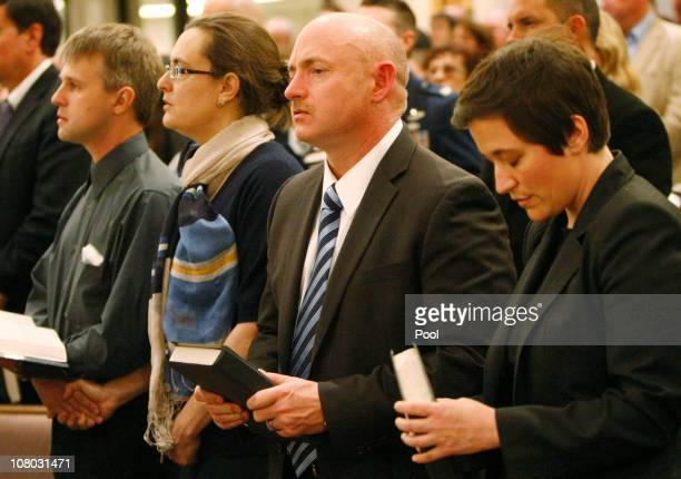 NASA astronaut Capt Mark Kelly husband of US Rep Gabrielle Giffords attends the funeral mass for Christina Green at St Elizabeth Ann Seton Catholic...