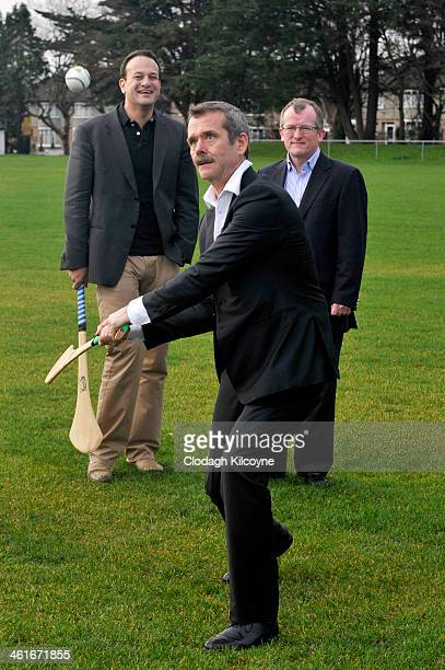 Astronaut Chris Hadfield learns the Irish national sport Hurling on January 10 2014 in Glasnevin Ireland