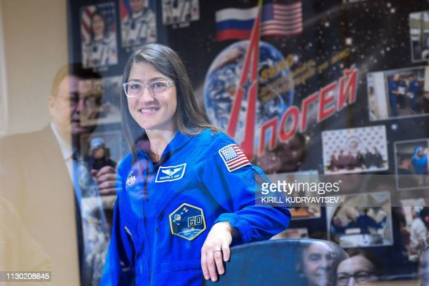 NASA astronaut Christina Hammock Koch a member of the International Space Station expedition 59/60 attends a press conference at the Russianleased...
