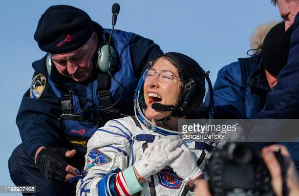 NASA astronaut Christina Koch reacts shortly after landing in a remote area outside the town of Dzhezkazgan Kazakhstan on February 6 2020 NASA's...
